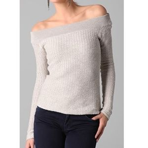 James Perse Off The Shoulder Textured Knit Sweater